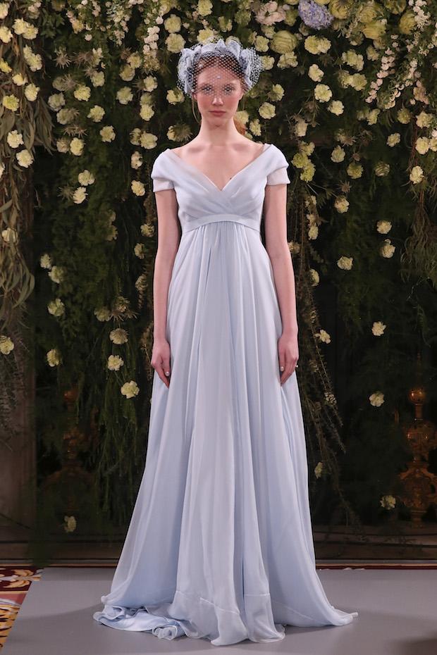 Light Blue Summer Wedding Dress V-Neck Cap Sleeve Simple Prom Gown ...