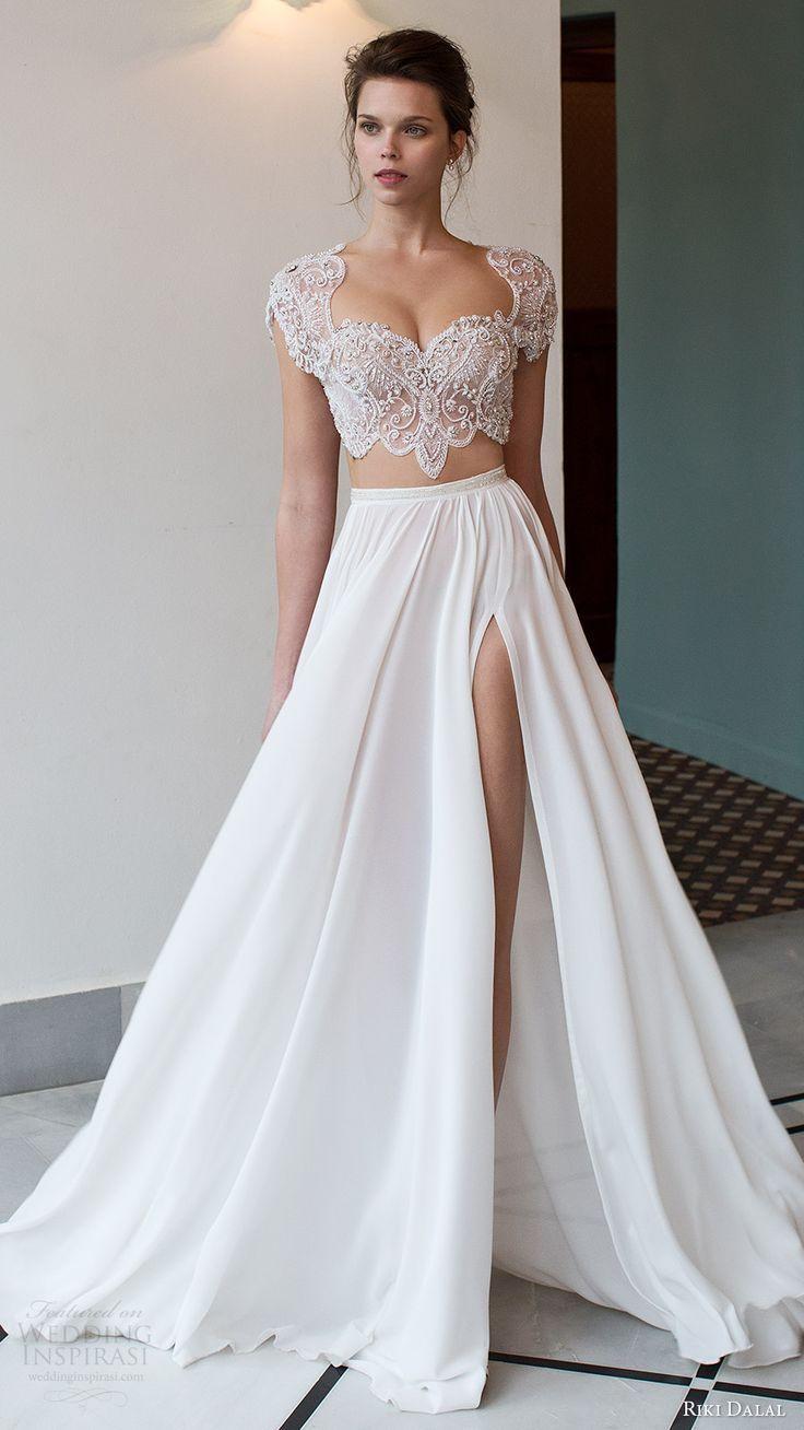 Two Pieces White Lace Top Chiffon Wedding Dress, Charming Bridal ...