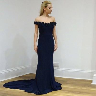 Navy Blue Formal Evening Dress Mermaid Off Shoulder Lace Appliques