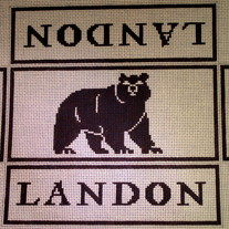 Landon School Bear Brick Cover Canvas on 13 Mesh