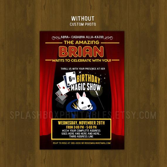 Magic Show Birthday Invitation · Splashbox Printables · Online Store ...