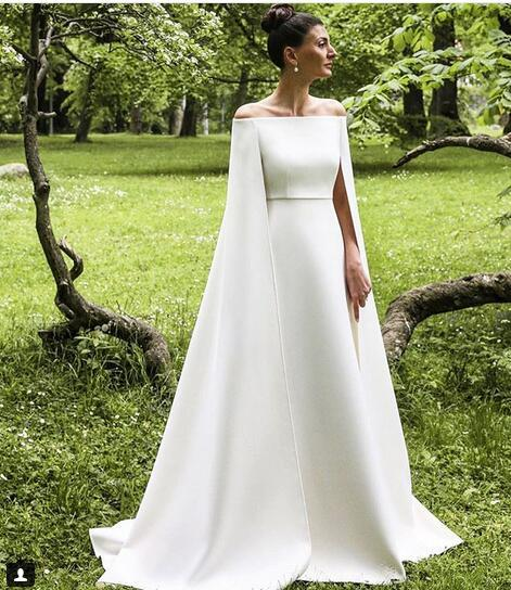 Simple A Line Satin Wedding Dresses Off Thsouth African