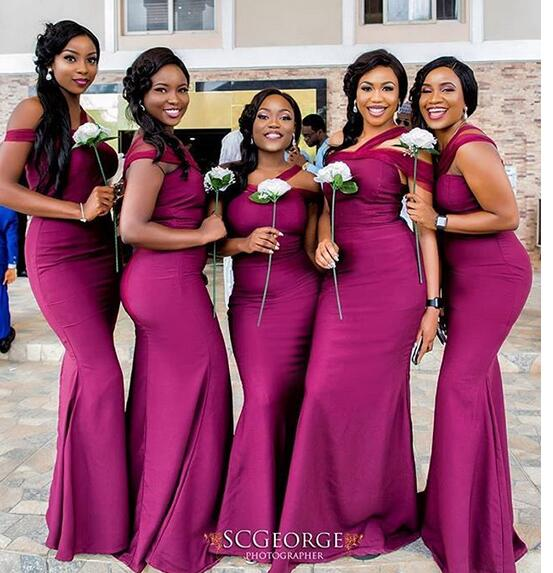 50cb8fe8a60 Wine Red Mermaid Bridesmaid Dresses Off the Shoulder Burgundy South African  Bridesmaid Gowns