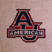 American University Logo Canvas on 18 Mesh