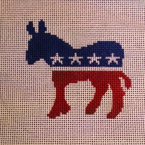 Democratic Donkey Ornament Canvas on 18 Mesh