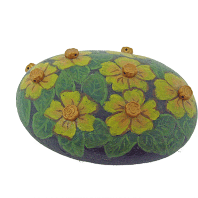 Home decor - painted rock flower paperweight - free usa shipping