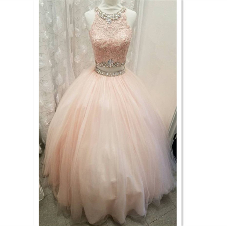 Light pink tulle ball gowns quinceanera dress,two piece quinceanera ...