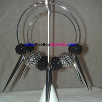 "Med/Silver & Black SpikenStone ""DVBS"" Earrings"