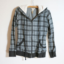 Plaid Sherpa Hood Light Jacket