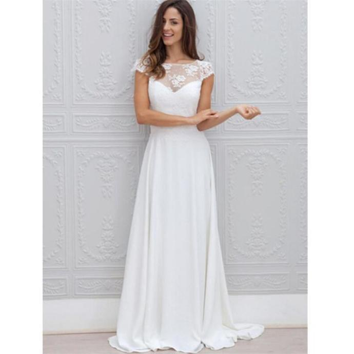 2018 Ivory Summer Beach Wedding Dress Lace Top Chiffon Sexy Open
