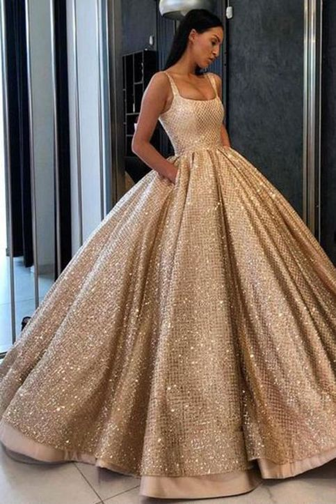 Prom Dress With Pockets Sequins Floor Length Gold Prom