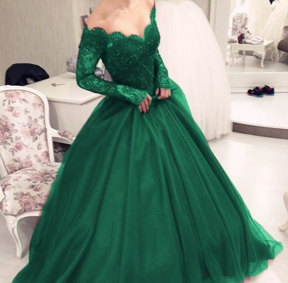 Green Ball Gown Prom Dress Long Sleeves Off Shoulder V Neck Lace