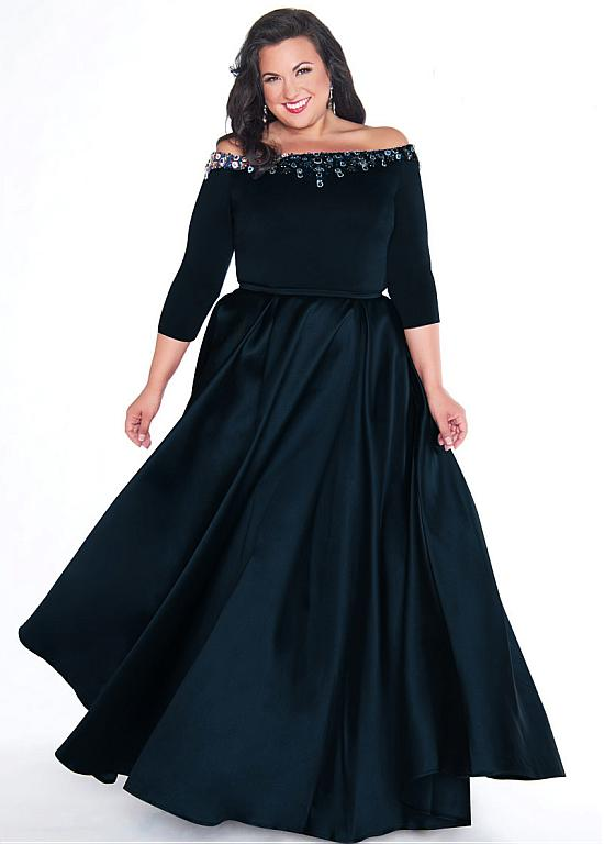 Chic Satin Off-the-shoulder Neckline Plus Size 3/4 Length Sleeves A-line  Evening Dress With Beadings & Belt from Eternally Yours Custom Bridals