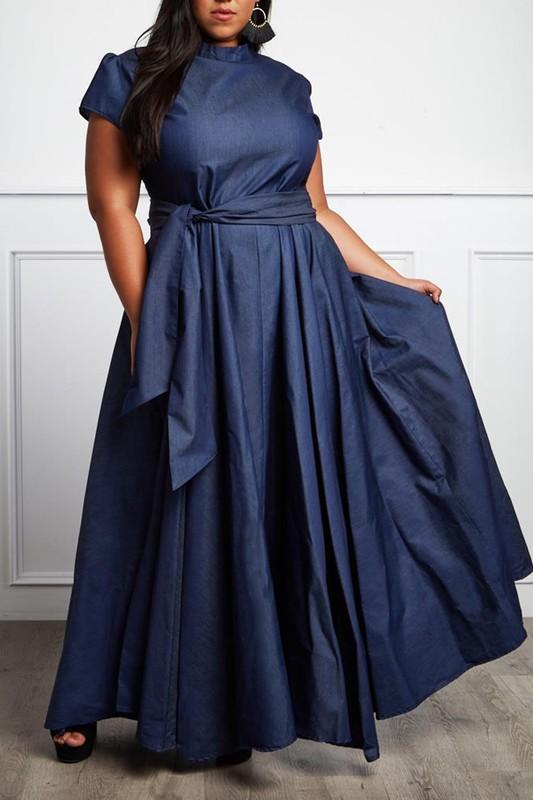 072548d279 Denim Mock Neck Dress · Exquisite Pink Boutique · Online Store ...