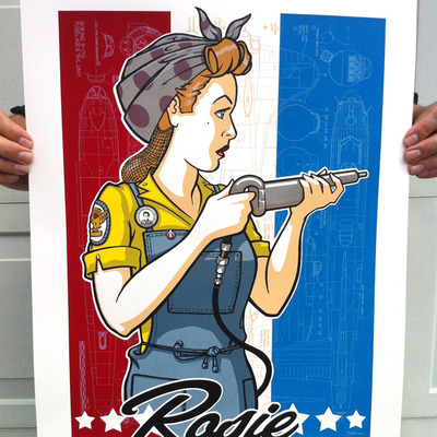 """rosie the riveter"" - a tribute.  limited edition art print"