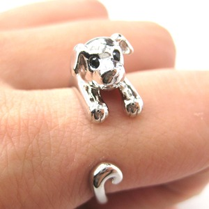 Miniature Puppy Dog Animal Wrap Ring in Shiny Silver - Sizes 5 to 9