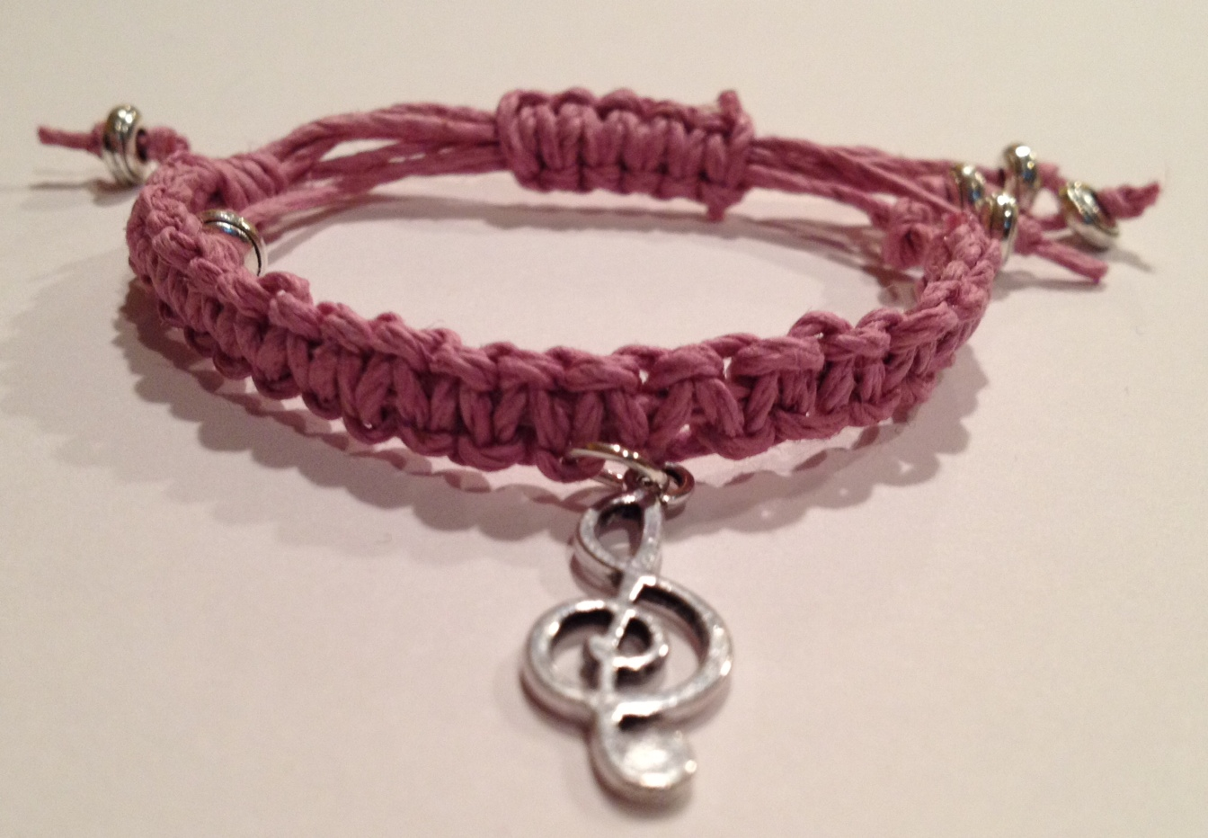 Friendship Bracelet  (kids) Pink With Music Note Charm