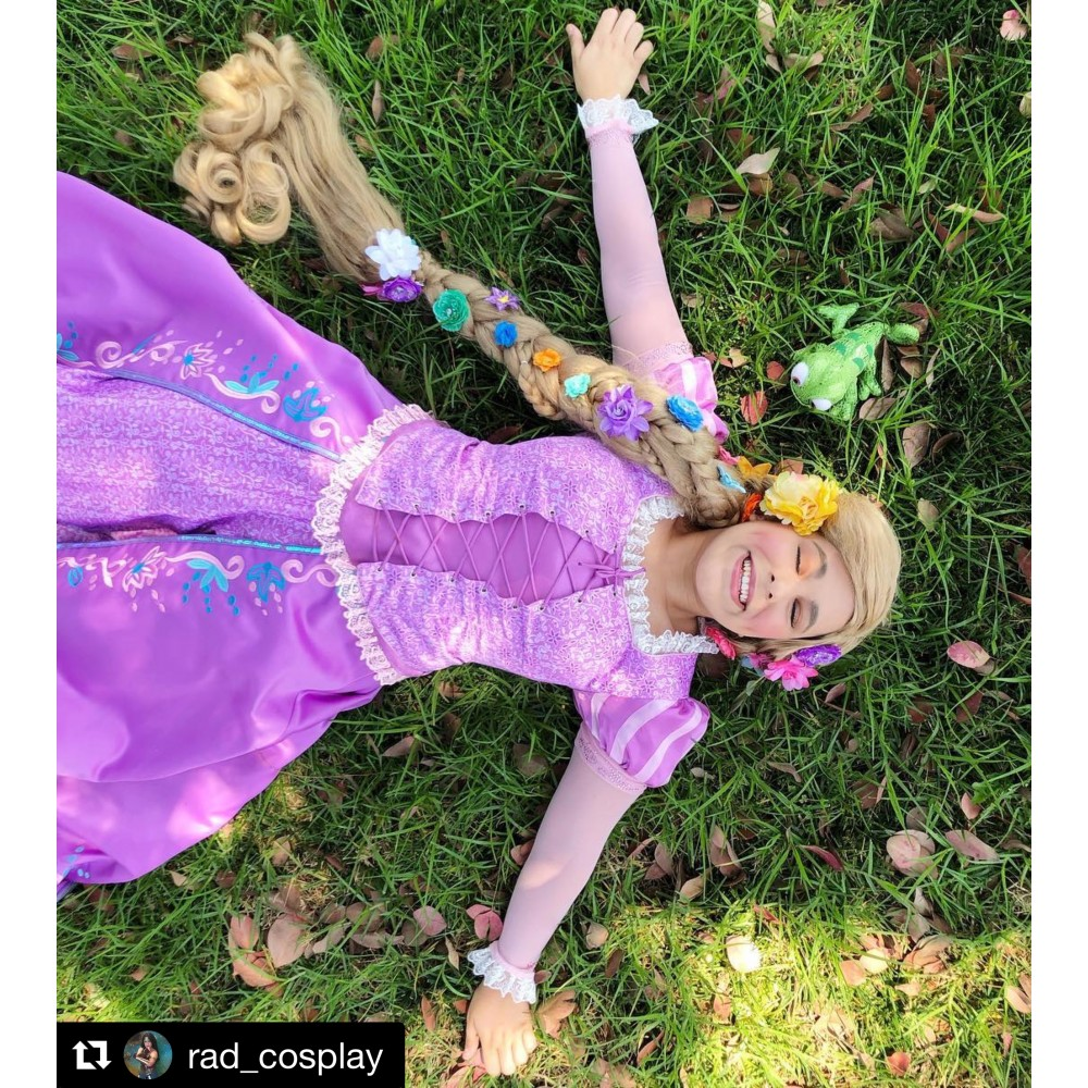 P144 Tangled Rapunzel Cosplay Costume women Princess dress ...