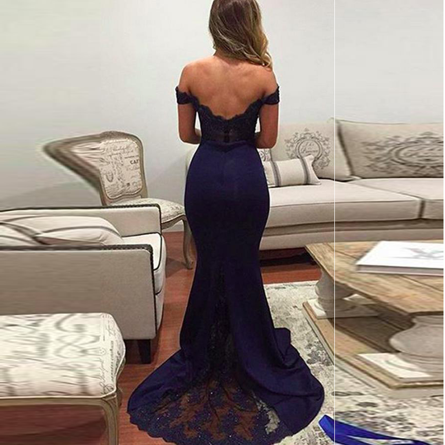 ... 2019 Elegant Mermaid Bridesmaid Dress Off The Shoulder Formal Gown Lace  Bodice - Thumbnail 4 d9deb84c9