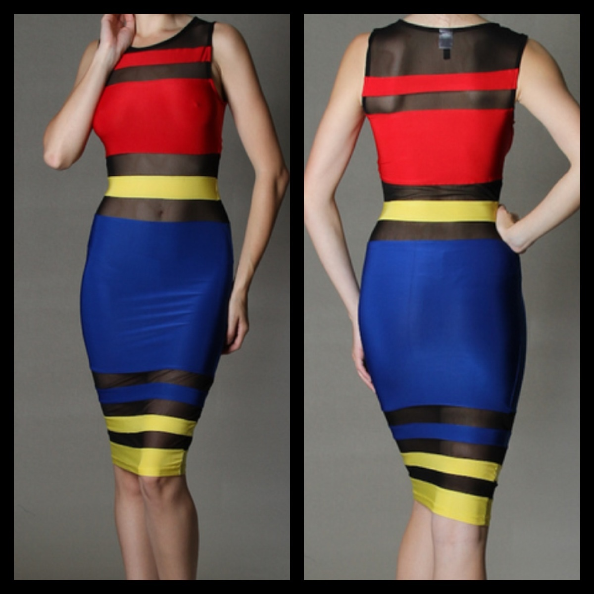 Elite radiance primary color block mesh dress online store powered