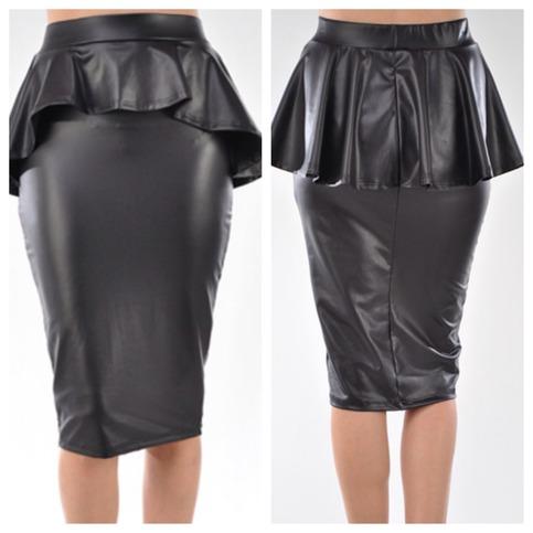 black faux leather peplum skirt on storenvy
