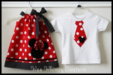Super Cute Brother Sister Minnie Mouse dress and Mickey Tie Tee set 0-3m-5t