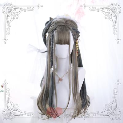 Japanese fashion harajuku mix colors long curly wigs daily wigs lk19030709