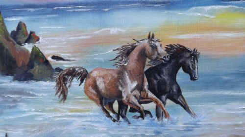 Judy frenz artist fine art horses running free painting on horses running free painting on canvas of horses running in the sunset on the beach publicscrutiny Gallery