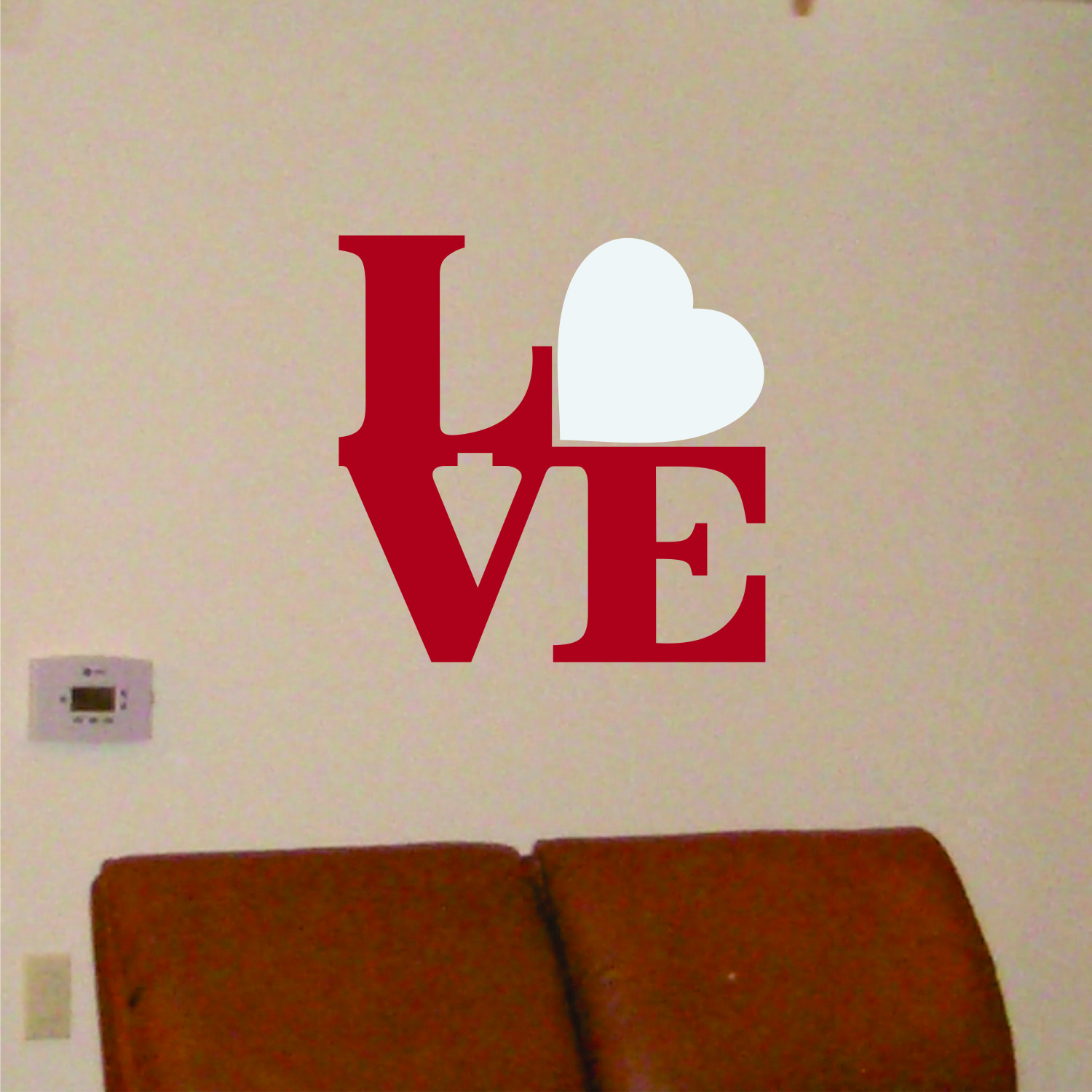 Wall Decal LOVE Square with Red Heart