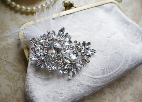The Button Tree Company Lace Bridal Clutch With Crystal