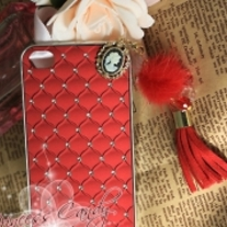 Bling Sparkle Crystal Vintage Avatar PU Leather Feahter Ball Chain iPhone 4/4S Case (#748)
