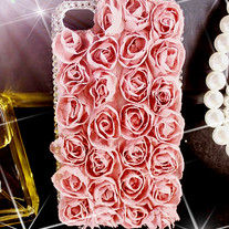 New All Lace Rose Flowers with Crystals On Edges Case For Apple iPhone 4 (#323)