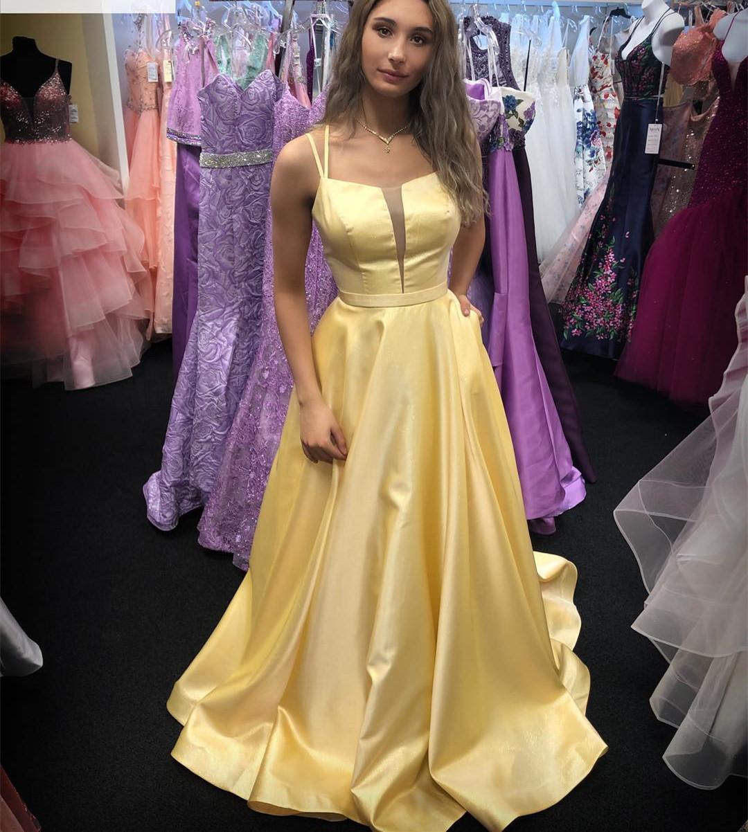 10019b7e6eb Elegant Yellow Long Prom Dress with Double Straps · modseleystore ...