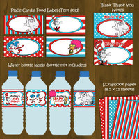 Dr Seuss Printable Baby Shower Package - Cat in a Hat Baby Shower DIY Set - Thumbnail 2