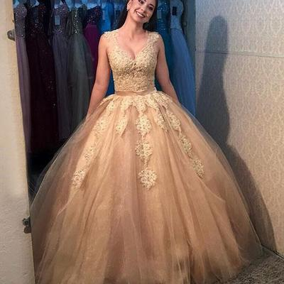 4aabc4a80af Champagne wedding party dress v neck princess ball gown prom dress lace  appliques