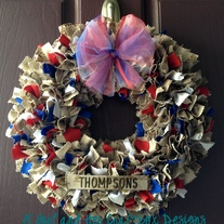 USA Round Wreath WITH NAMETAPE