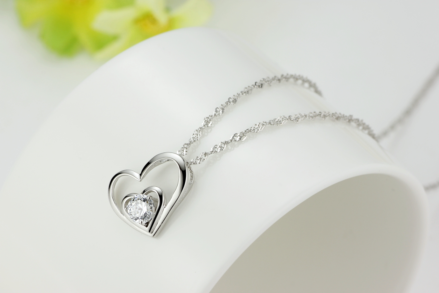 925 sterling silver double love open heart pendant necklace paved 925 sterling silver double love open heart pendant necklace paved cubic zirconia cz and 18 inch aloadofball Images