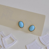 Blue Czech glass studs