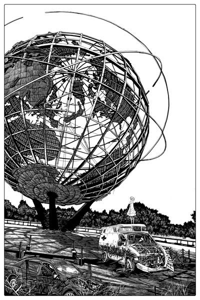"""""""1964 worlds fair globe"""" keyline"""