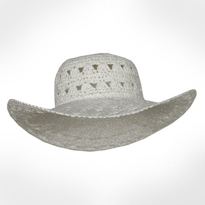 Women's Lurex Crochet Paper Wide Brim Hat