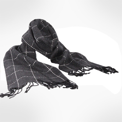 Men's Genuine Cashmere Supersoft Check Pattern Scarf-Grey