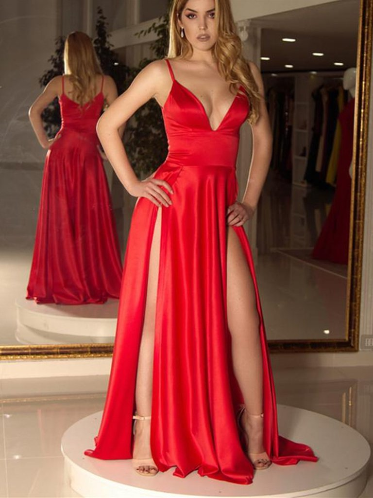Sexy Deep V Neck High Slit Long Fuchsia Chiffon Prom Dress