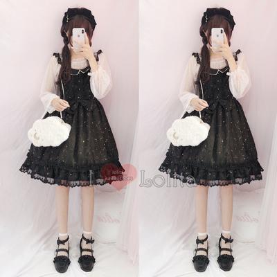 Japanese fashion harajuku kawaii stars pattern lace two piece casual dress lolita dress lk19052809
