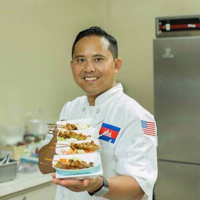 Personalized cambodian cuisine chef's coat