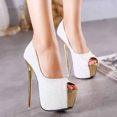 Sequins platform women fashion peep toe high heels shoes g-2979