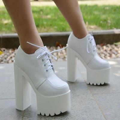 Lace-up pu chunky heel platform super high heels ankle boots g-2988