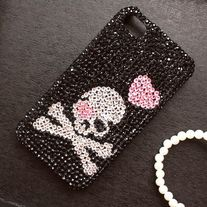 Bling Crystal Skull With Pink Heart iPhone 4/4S Case