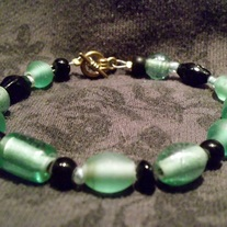 Teal And Black Glass Bracelet and Earring Set