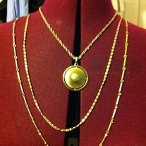 Vintage Triple Strand Gold tone Disc Pendant Necklace