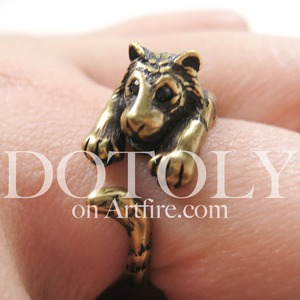 Miniature Tiger Animal Ring in Bronze Sizes 4 to 9 available